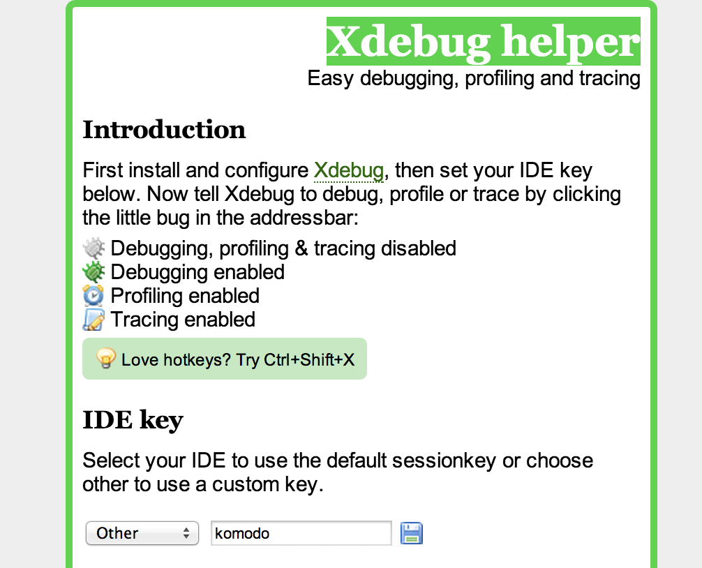 Xdebug Helper preferences