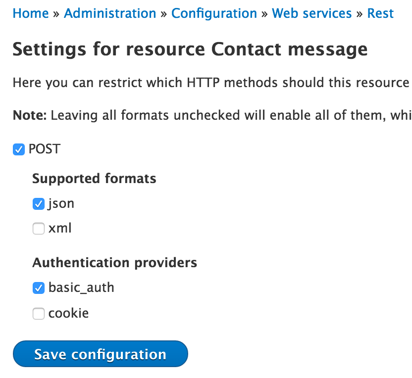 Contact message REST service configuration